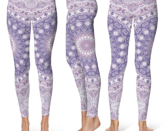 Mandala Leggings Yoga Pants, Lavender Printed Yoga Tights for Women, Festival Clothing, Club Wear