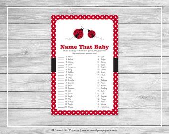 Ladybug Baby Shower Name That Baby Game - Printable Baby Shower Name That Baby Game - Ladybug Baby Shower - Name That Baby Game - SP140
