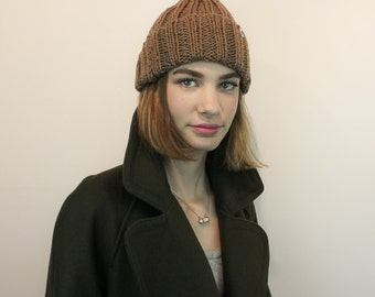 The Only Toque you'll ever need! 100% wool, mocha,  handknit winter hat. Made in Toronto, Ontario, Canada.