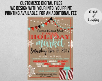 Holiday Event Flyer, Market, Craft Fair, Christmas, Christmas Event, Vendor Fair, School event, Church event, Custom flyer, Festival, Santa