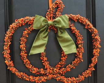 Pumpkin Wreath - Door Fall Wreath - Autumn Wreath - Chevron Wreath - 60 Bow options - Ready To Ship-
