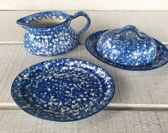 Vintage Stangl Blue Spongeware Town and Country 1970's Dinnerware gravy boat under plate, creamer pitcher, covered butter dish, replacements