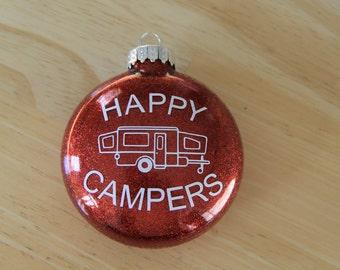 Glitter Ornament - Happy Campers