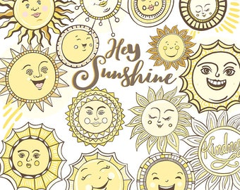 Sunshine ClipArt, Cheerful Smiling Sun Graphics, PNG + JPG Printable Classroom Decor,  Printable Collage for Art Journals, Summer Parties