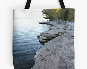 Autumn Shoreline / Tote Bag Featuring Dramatic Waterscape-Landscape Scene