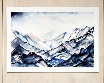 Abstract Mountain   mountain watercolour, original painting, mountainscape art, landscape painting, gallery wall, home decor, nature art