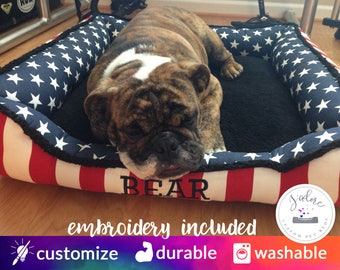 Patriotic Dog Bed - Stars & Stripes | Red, White and Blue | Custom Dog Bed with Your Choice of Fabrics - Red, White, Blue, Stars