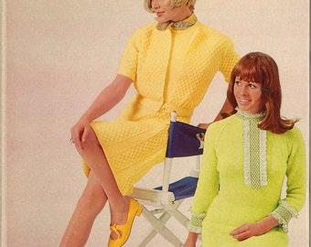 Lorraine & Marilyn • 1960s Mod Cable Sweater Dress Sweaterdress Patterns • 60s Vintage Lace Knitting Pattern • Retro Knit PDF