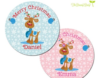 Personalized Christmas Plate for Kids - Reindeer Plate - Personalized Plate for Christmas - Reindeer Holiday Plate for Kids
