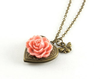 Antieke koperen hart en bloem medaillon HALSKETTING, roze roos medaillon hanger, Honey Bee Charm Necklace