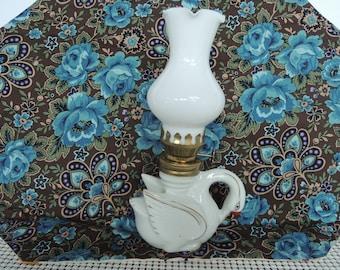 Oil lamp, Mini lamp, miniature oil lamp, light, Ceramic swan, Excellent condition, Vintage