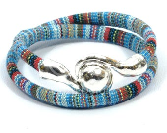 Mothers Day Gift boho wrap bracelet, teal ethnic bracelet, multicolor woven bracelet, beach jewelry, magnetic clasp, anniversary gifts for w