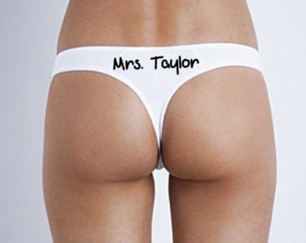 Bridal Thong, Custom Wedding Thong, Newly Engaged, Personalized Underwear, Wedding Panties, Custom G-String, Sexy Thong, Wedding Gift