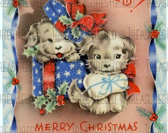 Merry Christmas Puppy Dog Card #66 Digital Download