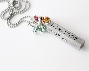 Hand stamped Pendant bar personalized name and date pendant necklace with Swarovski Birthstones - Mothers necklace - family necklace