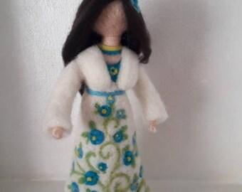 Handmade felted blue flower Lady