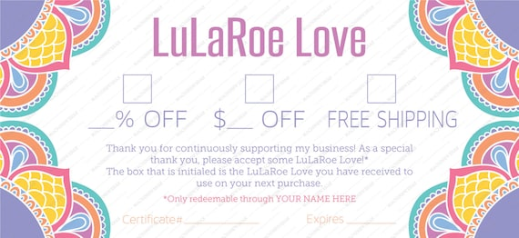 Professional Lula Coupon Gift Certificate All Purpose