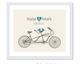 Bicycle art Print - Wedding Personalized Love Poster- Tandem Bike and birds - Wall Art