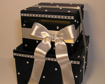 Wedding Card Box Navy and Silver 2 tier Gift Card Box Money Box Holder-Customize your color
