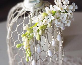 bridal hair clip, wedding headpiece, bridal hair piece, faux pearls, floral hairpiece, alligator hair clip