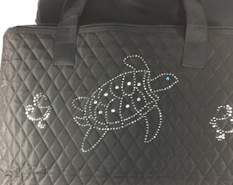 Large black tote bag quilted.