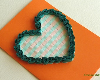 Quilling Love Heart Card, Valentine's Day card, Blank Quilled Heart Card, Romantic Card, Card for her