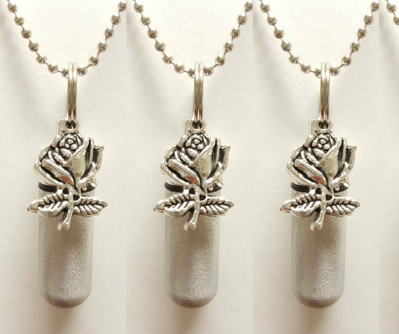 Set of THREE - Brushed Silver Anointing Oil Holders with Vials and Silver Rose  - with 3 Velvet Pouches 3  Ball Chains, & Fill Kit