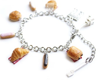 Charm Bracelet jewelry Tea time in paris Croissant Pastry Eclair French Pastries Miniature Food Jewelry