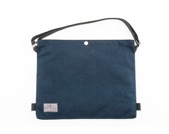 Cotton Canvas Cycling Musette - Bicycle Musette - Cycling Bag - Canvas Satchel - Messenger Bag - Canvas Bag - Shoulder Bag | Navy