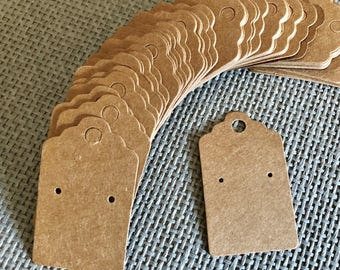 50 Kraft Earring Display Cards Brown Scalloped Edge 3x5cm