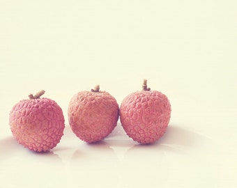 still life photography, lychee fruit, food photograph, kitchen decor, summer fruit, asian food, melon pink, trio, Myan Soffia