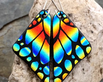 Dichroic Glass  Earrings Butterfly Wings Hand Etched Fused Glass with Sterling Silver Hooks Orange Blue Rainbow