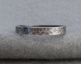 Hand Forged 3mm Sterling Wedding Band, simple leopard skin textured silver, dark organic man's ring, his and her, size 8.75 ready to ship