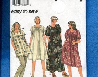 Simplicity 9548 Muumuus in Two Lengths & Tunic All with Drop Shoulder Yokes Your Choice of Neckline Sizes 26W - 32W