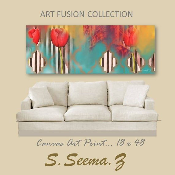 FLORAL TULIP - 48x18, Home Decor, Living Room Art,Stripes,Wall decal, Moroccan, Stripes, Canvas Print