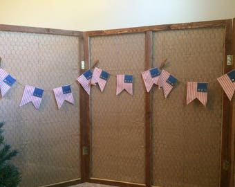 Patriotic Fabric Flag Banner with Gold Metal Stars
