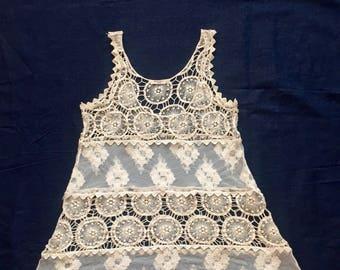 Vintage Antiqued Lace Minidress (size M)