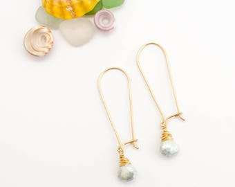 Simple Natural Mystic Sapphire Earrings, Handmade, Dainty, 14k Gold Filled, Kidney Wire, Simply Me Jewelry Sparkle Sapphire EarringsSMJER806