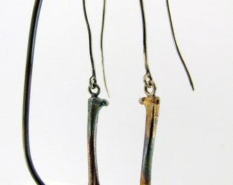 Handmade Sterling Silver Femur Hook Earrings