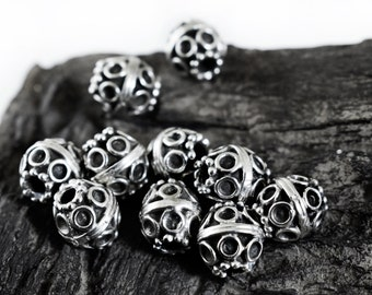 Spacer Beads 10mm, Silver Tone Bali Style Round Ball Beads, Patterned Beads, 6 pieces