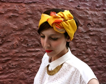 Cotton print scarf, orange and yellow