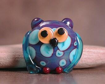 Lampwork Bird Bead, Lampwork Glass Owl Bead Focal, Owl Animal Totem, Whimsical Owl, Divine Spark Designs, SRA
