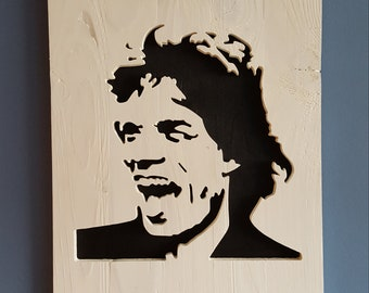 Shabby Chic Recycled Pallet Wood Wall Art Mick Jagger Rolling Stones