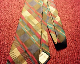 60's patterned tie - abstract prijt vintage tie - made by Beau Brummel