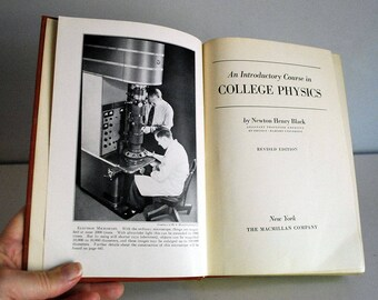 College Physics Book, Vintage Science Textbook, 1940s Introductory Course, N. Henry Black, Library Decor, Science Geek Gift, Revised Edition