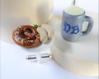 Munich Sunday Morning Breakfast Cufflinks - German Collection - Miniature Food Art Jewelry Collectable - Schickie Mickie 100% handmade
