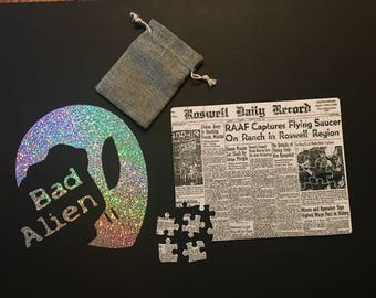 Rosewell Puzzle / Roswell Newspaper / Alien Newspaper Article Puzzle / UFO Puzzle /  Flying Saucer / X-Files