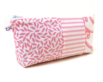 Zipper Pouch Clutch Purse - Patchwork Swirls and Stripes in Pink and White