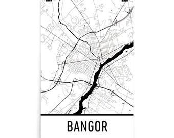 Bangor Map, Bangor Art, Bangor Print, Bangor ME Poster, Bangor Wall Art, Map of Bangor, Bangor Gift, Bangor Decor, Bangor Map Art Print