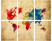 World Map Abstract - 6 8x10 Prints Print Poster